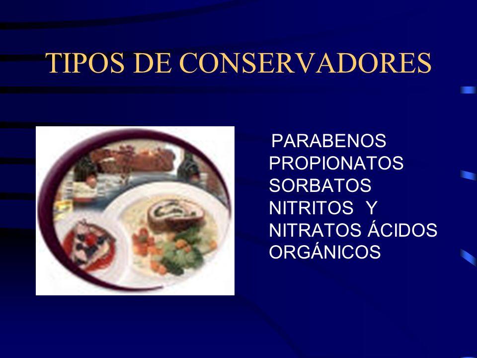 TIPOS DE CONSERVADORES PARABENOS PROPIONATOS SORBATOS NITRITOS Y NITRATOS ÁCIDOS ORGÁNICOS