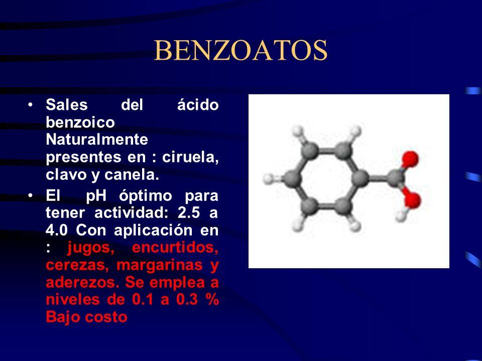 BENZOATOS Sales del ácido benzoico Naturalmente presentes en : ciruela, clavo y canela. El pH óptimo para tener actividad: 2.5 a 4.0 Con aplicación en