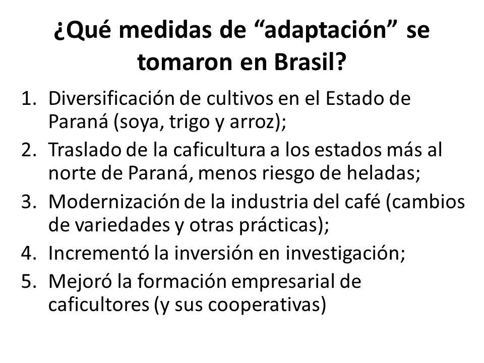 ¿Qué medidas de adaptación se tomaron en Brasil? 1.Diversificación de cultivos en el Estado de Paraná (soya, trigo y arroz); 2.Traslado de la caficult
