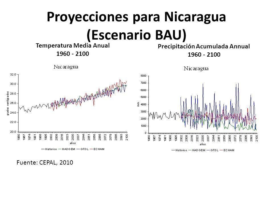 NICARAGUA: CAMBIOS OBSERVADOS EN LA TEMPERATURA MEDIA ANUAL Década (años) Temperatura media por década (°C) Diferencia entre Norma histórica y Media anual de la Década (°C) Diferencia entre Media de la última década y Media de la primera década (°C) 1961-197024.5 1971-198025.80.3 1981-199025.70.21.4 1991-200025.80.3 2001-201125.90.4 4 Temperatura media anual por década en Nicaragua Tasas medias de calentamiento anual: Región Pacífico:+0.002°C Región Central:+0.004°C Región Norte :+0.045°C Tasas medias de calentamiento anual: Región Pacífico:+0.002°C Región Central:+0.004°C Región Norte :+0.045°C o Ocotal: 2,7 C o