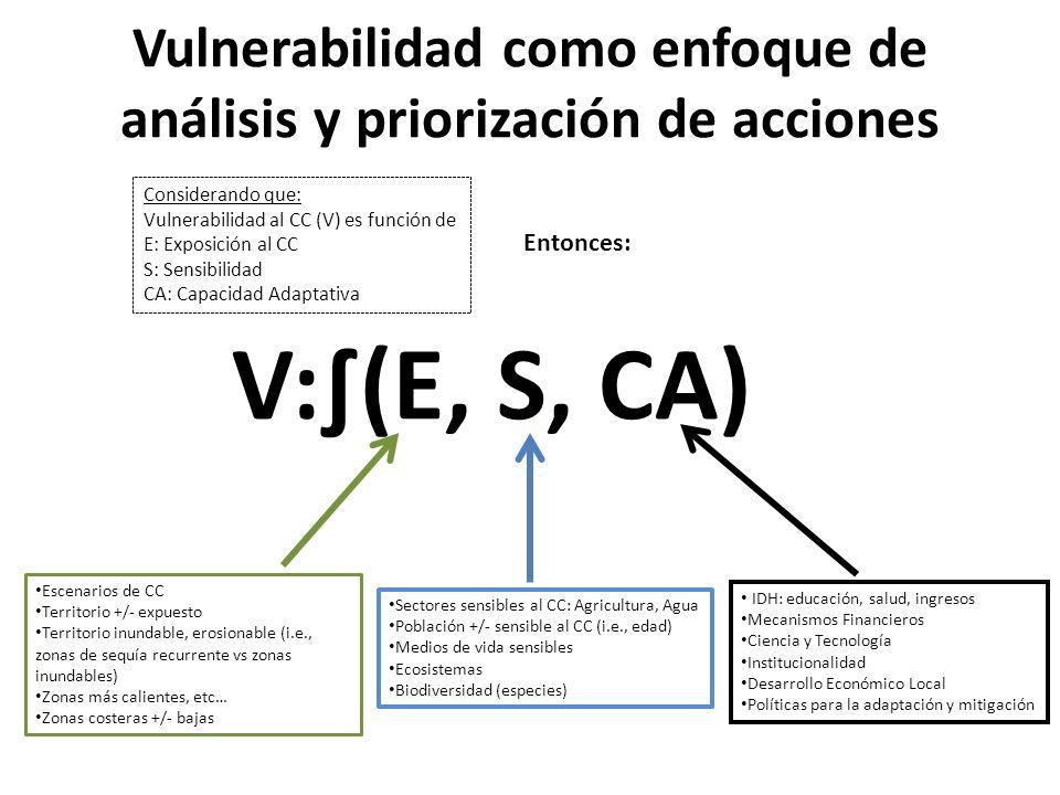 Vulnerabilidad como enfoque de análisis y priorización de acciones V:(E, S, CA) Considerando que: Vulnerabilidad al CC (V) es función de E: Exposición
