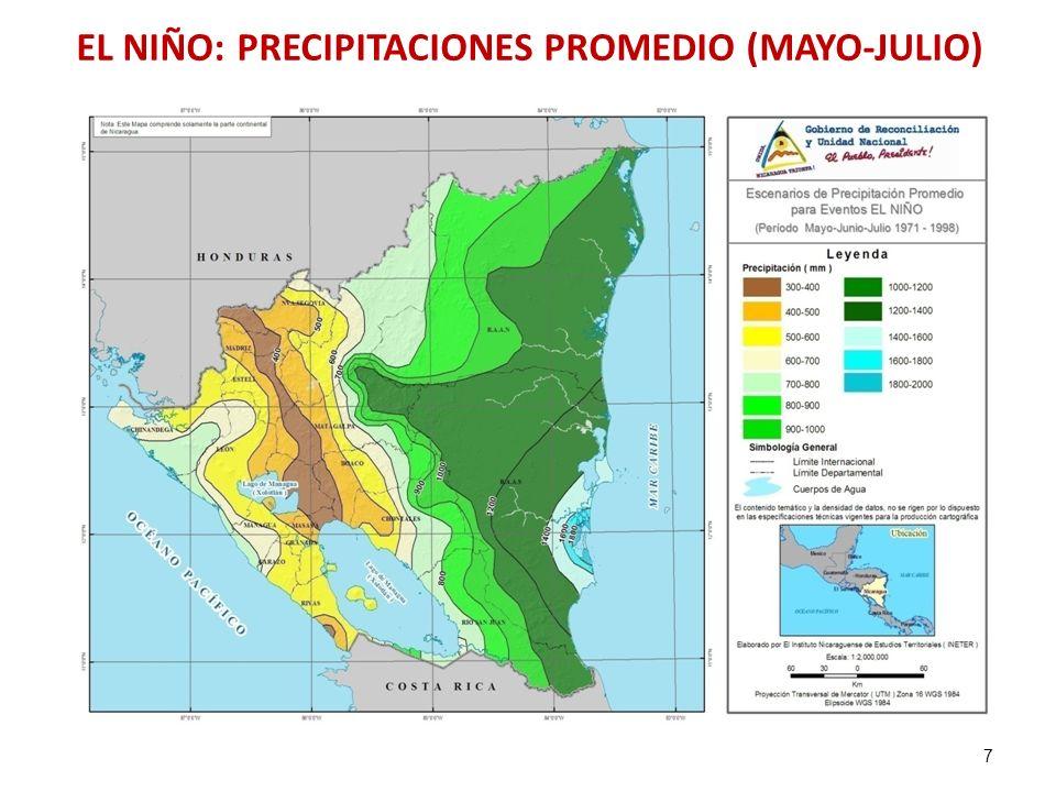 7 EL NIÑO: PRECIPITACIONES PROMEDIO (MAYO-JULIO)