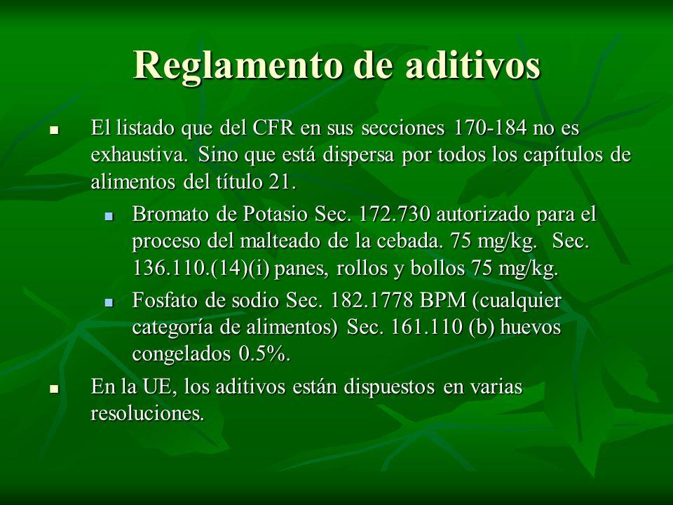 Reglamento de aditivos El listado que del CFR en sus secciones 170-184 no es exhaustiva. Sino que está dispersa por todos los capítulos de alimentos d