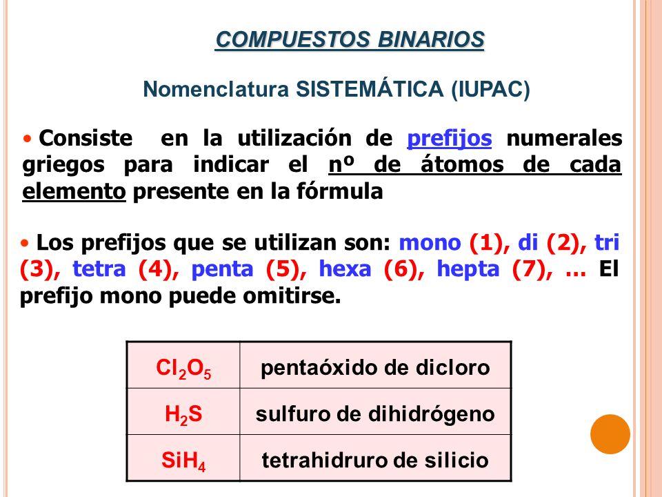 Nomenclatura SISTEMÁTICA (IUPAC) Consiste en la utilización de prefijos numerales griegos para indicar el nº de átomos de cada elemento presente en la