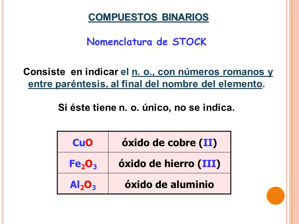 Nomenclatura de STOCK Consiste en indicar el n. o., con números romanos y entre paréntesis, al final del nombre del elemento. Si éste tiene n. o. únic