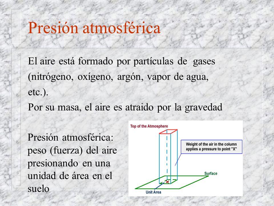 El aire está formado por partículas de gases (nitrógeno, oxígeno, argón, vapor de agua, etc.). Por su masa, el aire es atraido por la gravedad Presión