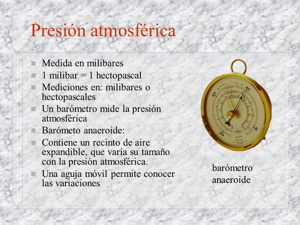 Presión atmosférica n Medida en milibares n 1 milibar = 1 hectopascal n Mediciones en: milibares o hectopascales n Un barómetro mide la presión atmosf