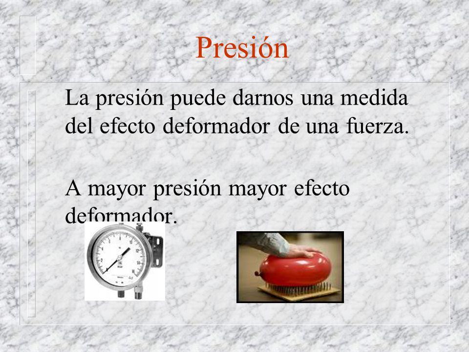 Presión La presión puede darnos una medida del efecto deformador de una fuerza. A mayor presión mayor efecto deformador.