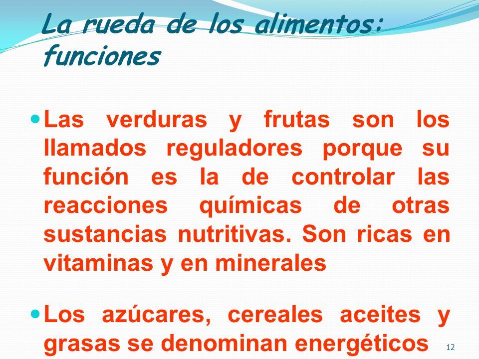 La rueda de los alimentos: funciones Las verduras y frutas son los llamados reguladores porque su función es la de controlar las reacciones químicas d