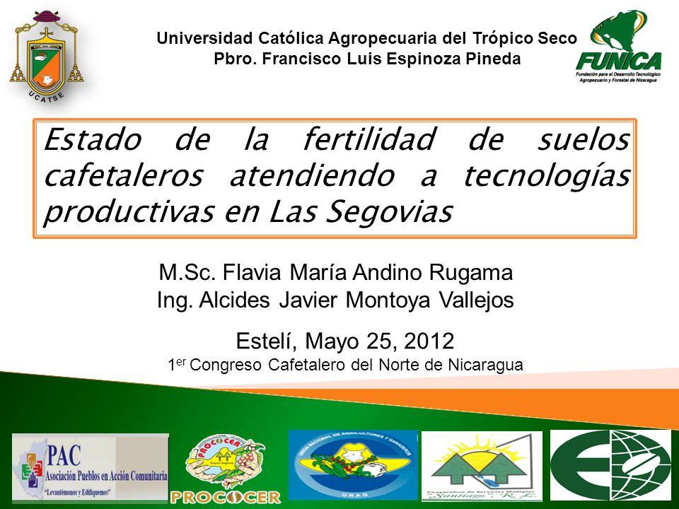 Estado de la fertilidad de suelos cafetaleros atendiendo a tecnologías productivas en Las Segovias M.Sc. Flavia María Andino Rugama Ing. Alcides Javie