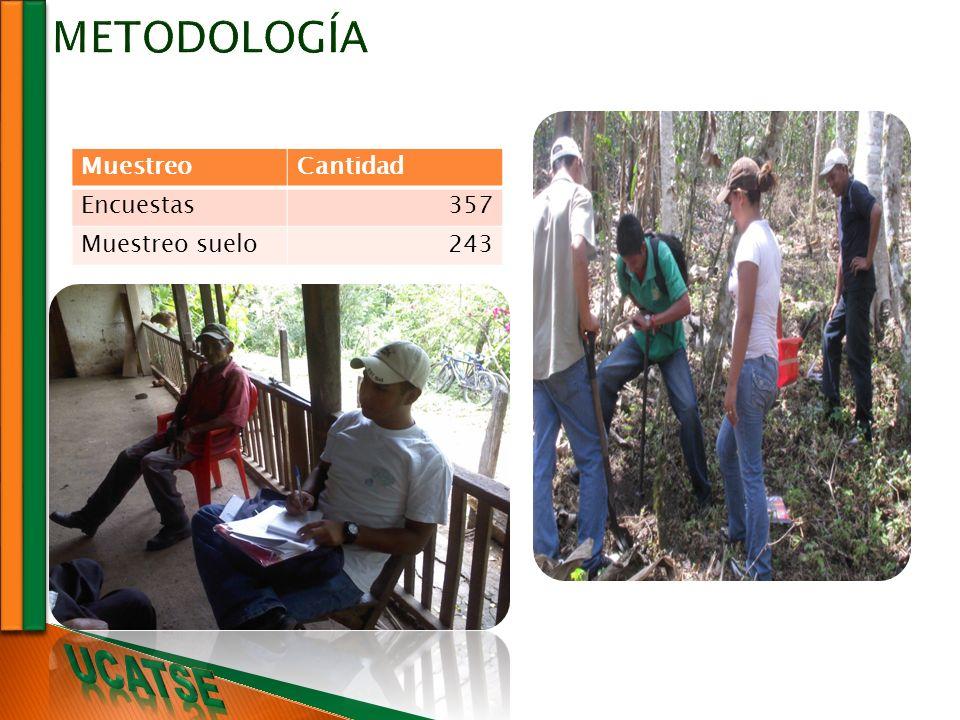 MuestreoCantidad Encuestas357 Muestreo suelo243