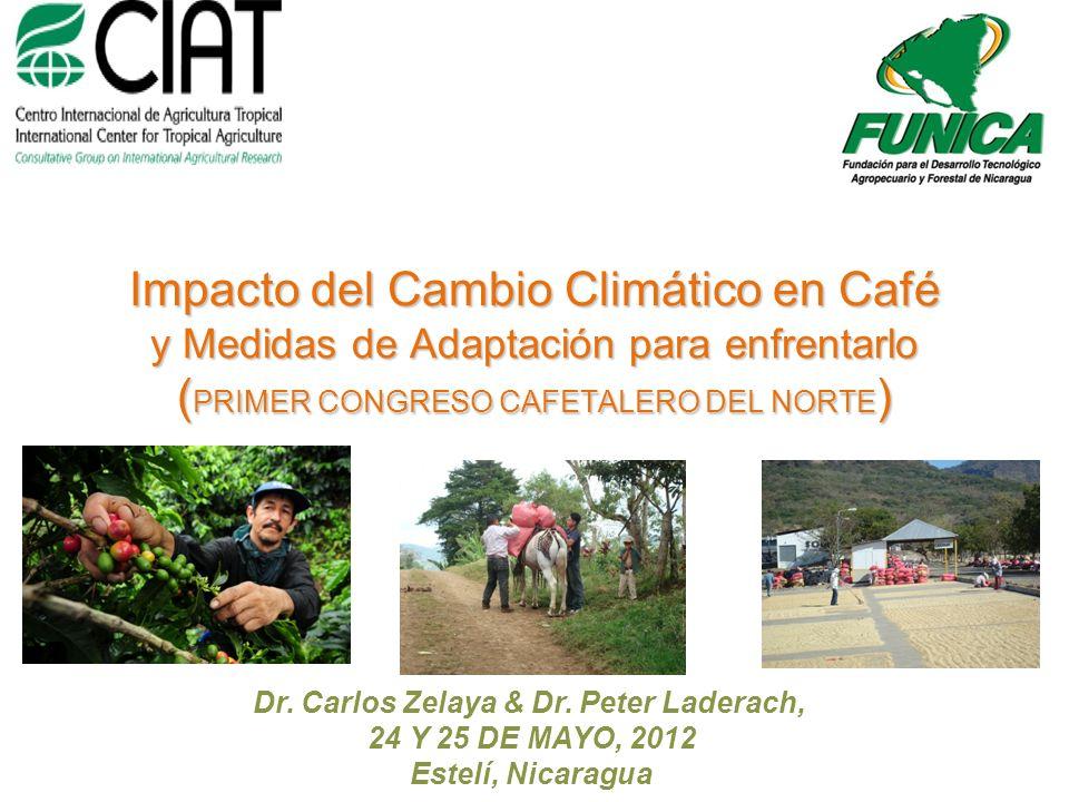 Dr. Carlos Zelaya & Dr. Peter Laderach, 24 Y 25 DE MAYO, 2012 Estelí, Nicaragua Impacto del Cambio Climático en Café y Medidas de Adaptación para enfr