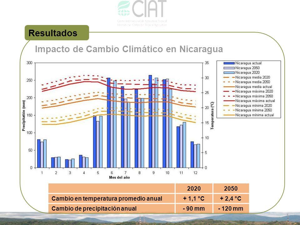 20202050 Cambio en temperatura promedio anual+ 1,1 °C+ 2,4 °C Cambio de precipitación anual- 90 mm- 120 mm Resultados Impacto de Cambio Climático en N