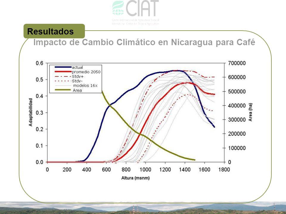 Resultados Impacto de Cambio Climático en Nicaragua para Café