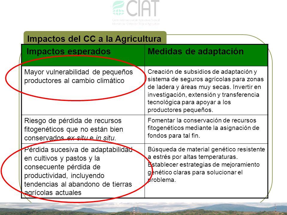 Impactos del CC a la Agricultura Impactos esperadosMedidas de adaptación Mayor vulnerabilidad de pequeños productores al cambio climático Creación de