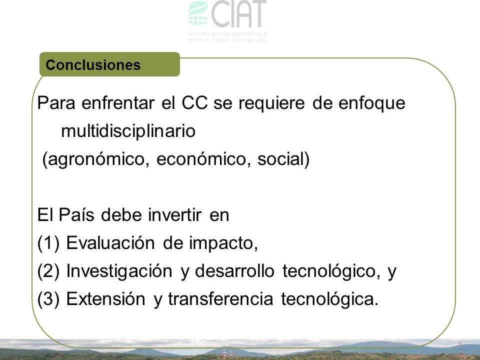 Para enfrentar el CC se requiere de enfoque multidisciplinario (agronómico, económico, social) El País debe invertir en (1) Evaluación de impacto, (2)