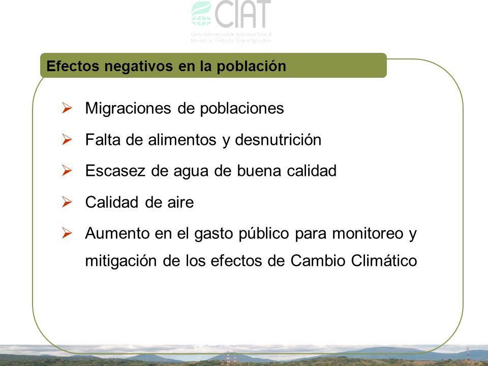 Efectos negativos en la población Migraciones de poblaciones Falta de alimentos y desnutrición Escasez de agua de buena calidad Calidad de aire Aument