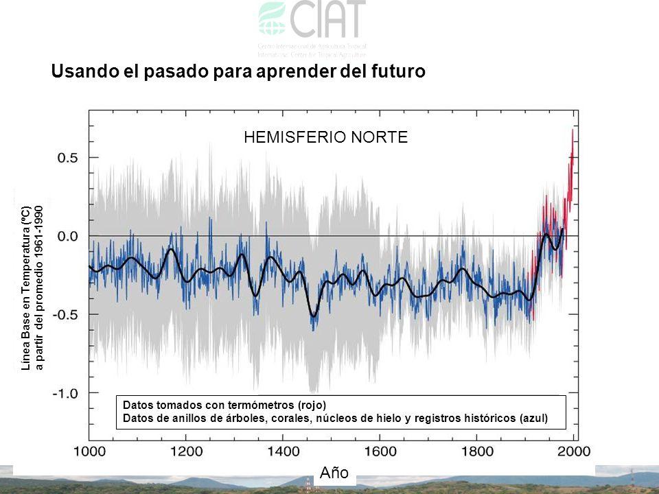Usando el pasado para aprender del futuro Datos tomados con termómetros (rojo) Datos de anillos de árboles, corales, núcleos de hielo y registros hist