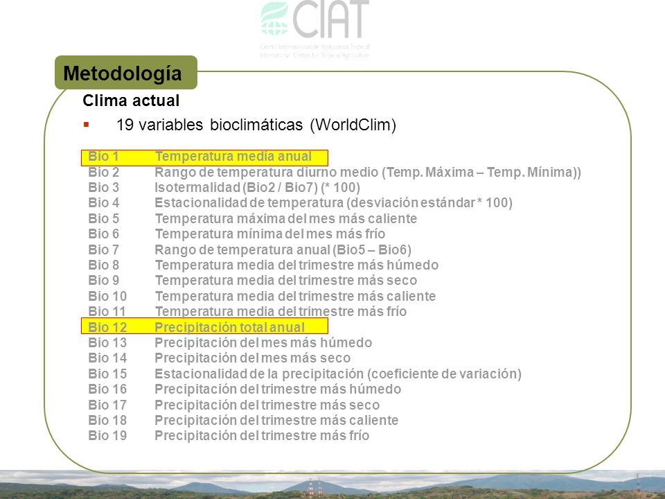 Metodología Clima actual 19 variables bioclimáticas (WorldClim) Bio 1Temperatura media anual Bio 2Rango de temperatura diurno medio (Temp. Máxima – Te