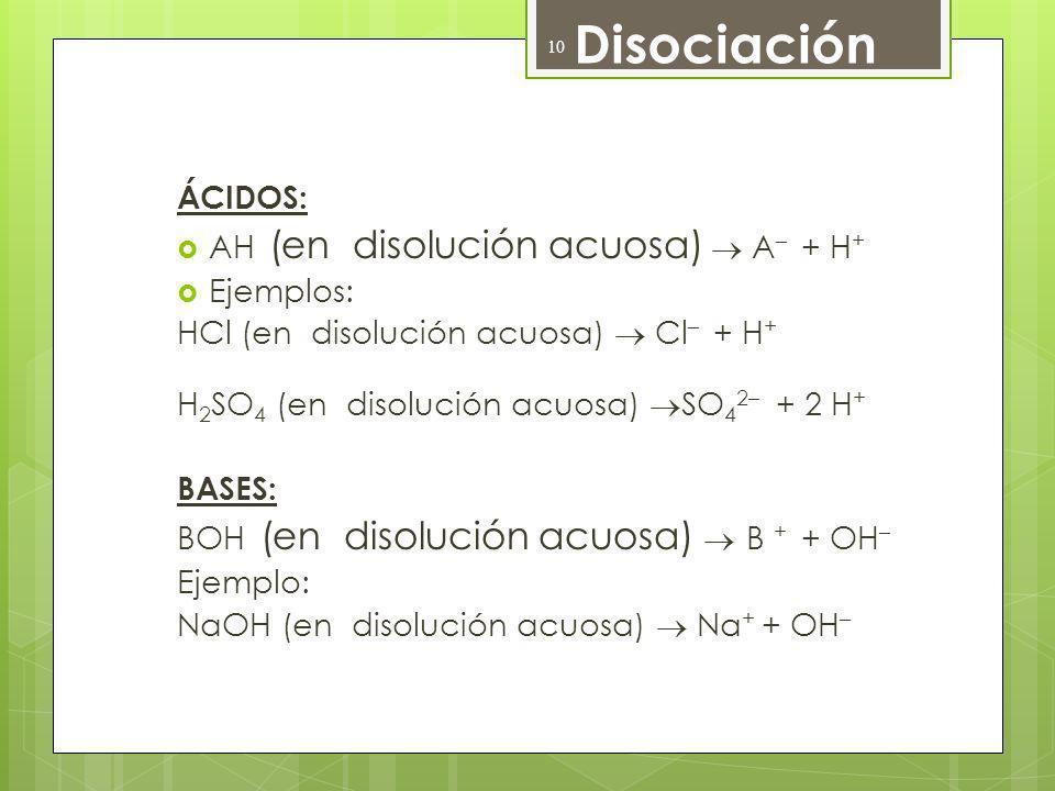 Disociación ÁCIDOS: AH (en disolución acuosa) A – + H + Ejemplos: HCl (en disolución acuosa) Cl – + H + H 2 SO 4 (en disolución acuosa) SO 4 2– + 2 H