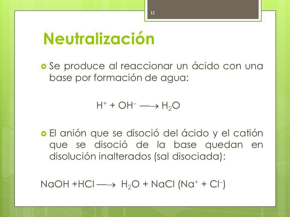 Neutralización Se produce al reaccionar un ácido con una base por formación de agua: H + + OH – H 2 O El anión que se disoció del ácido y el catión qu
