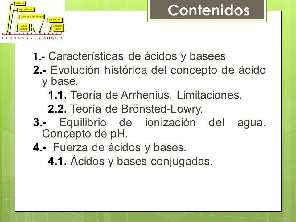 Contenidos 1.- Características de ácidos y basees 2.- Evolución histórica del concepto de ácido y base. 1.1. Teoría de Arrhenius. Limitaciones. 2.2. T