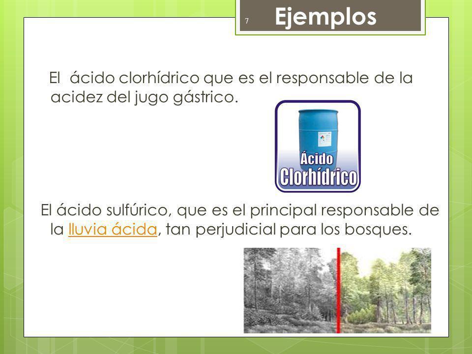 Ejemplos El ácido clorhídrico que es el responsable de la acidez del jugo gástrico. El ácido sulfúrico, que es el principal responsable de la lluvia á