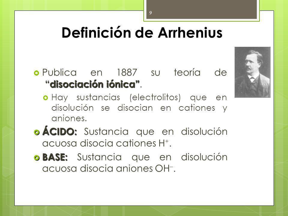 Definición de Arrhenius disociación iónica Publica en 1887 su teoría de disociación iónica. Hay sustancias (electrolitos) que en disolución se disocia