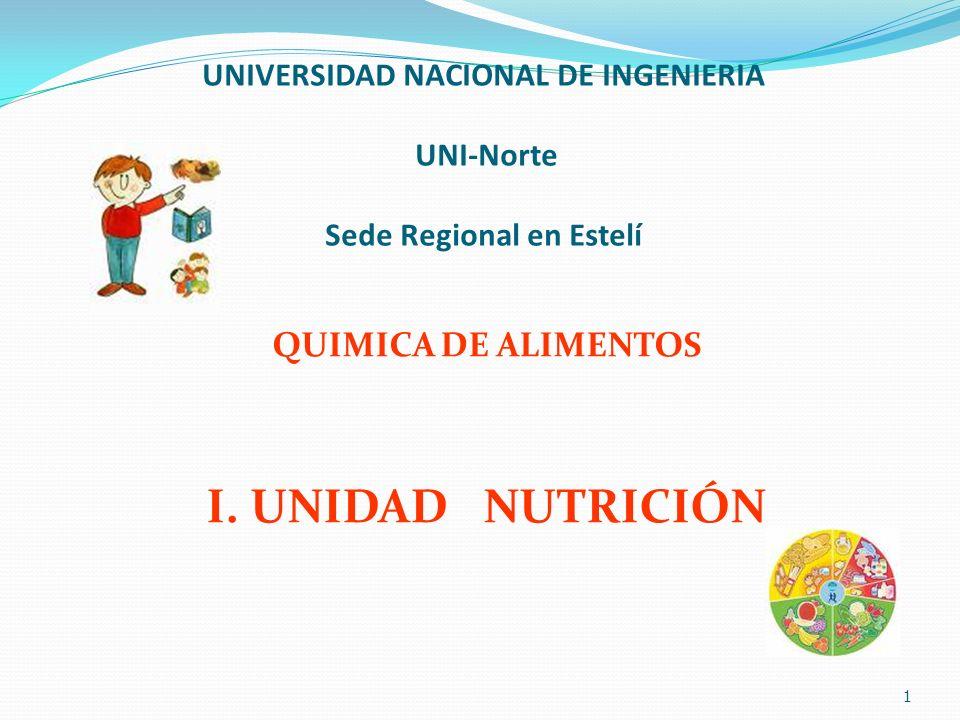 UNIVERSIDAD NACIONAL DE INGENIERIA UNI-Norte Sede Regional en Estelí QUIMICA DE ALIMENTOS I. UNIDAD NUTRICIÓN 1