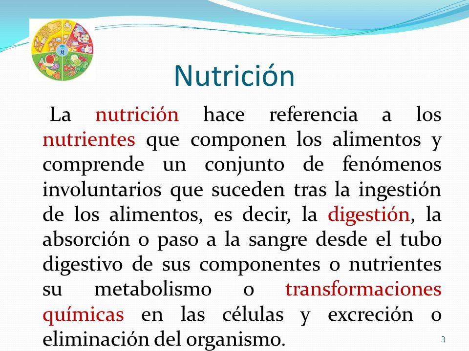 Nutrición La nutrición hace referencia a los nutrientes que componen los alimentos y comprende un conjunto de fenómenos involuntarios que suceden tras