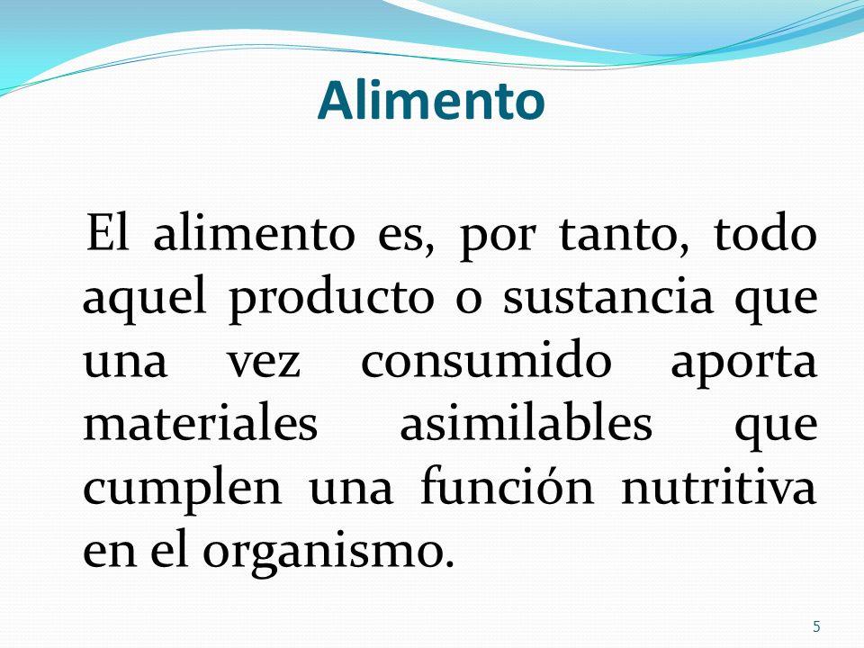 Alimento El alimento es, por tanto, todo aquel producto o sustancia que una vez consumido aporta materiales asimilables que cumplen una función nutrit