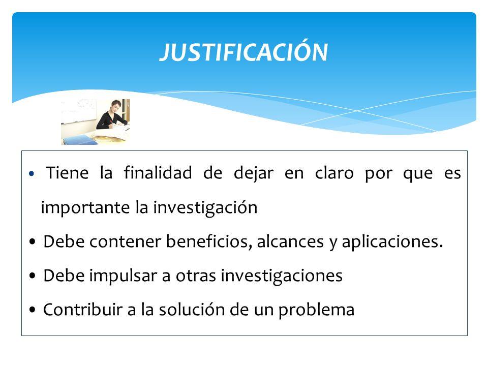 JUSTIFICACIÓN Productos de la investigación: proyectos, informes, manuales, artículos, libros, ponencias, tesis, etc.