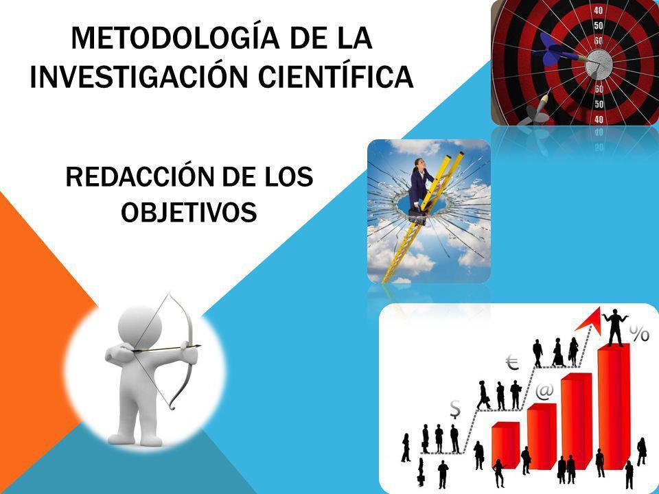 REDACCIÓN DE LOS OBJETIVOS METODOLOGÍA DE LA INVESTIGACIÓN CIENTÍFICA