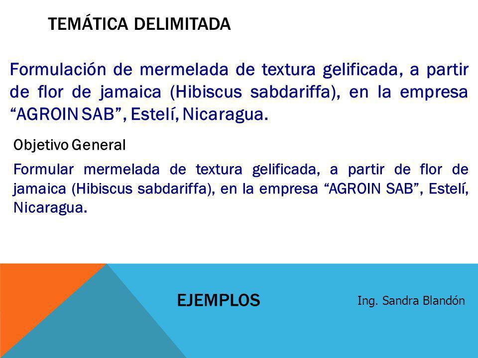 TEMÁTICA DELIMITADA Formulación de mermelada de textura gelificada, a partir de flor de jamaica (Hibiscus sabdariffa), en la empresa AGROIN SAB, Estel