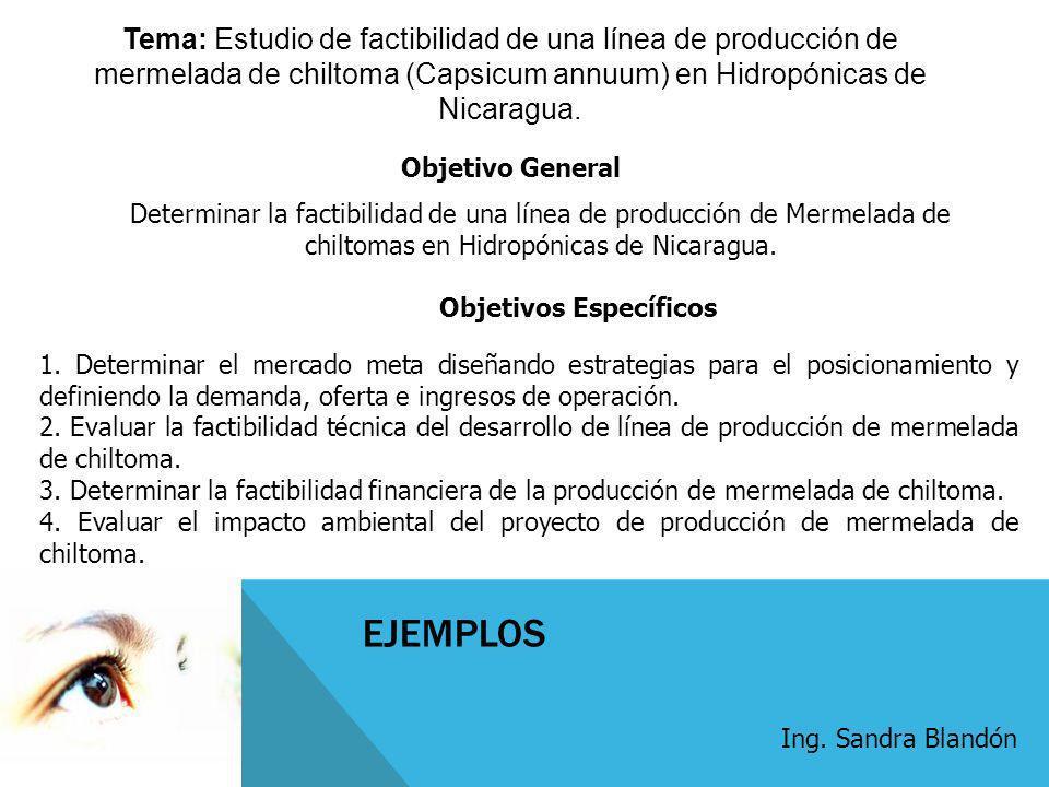 EJEMPLOS Tema: Estudio de factibilidad de una línea de producción de mermelada de chiltoma (Capsicum annuum) en Hidropónicas de Nicaragua. Determinar