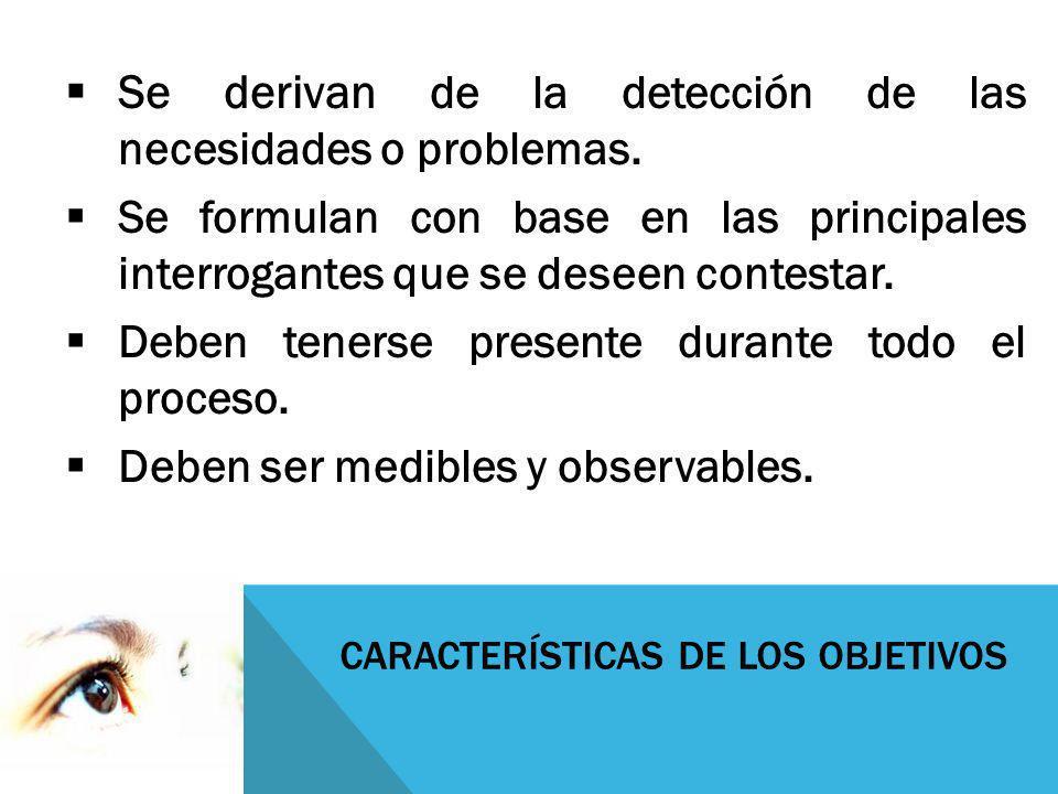 CARACTERÍSTICAS DE LOS OBJETIVOS Se derivan de la detección de las necesidades o problemas. Se formulan con base en las principales interrogantes que