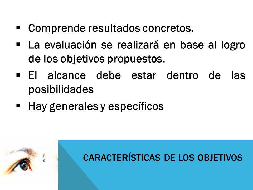 CARACTERÍSTICAS DE LOS OBJETIVOS Comprende resultados concretos. La evaluación se realizará en base al logro de los objetivos propuestos. El alcance d