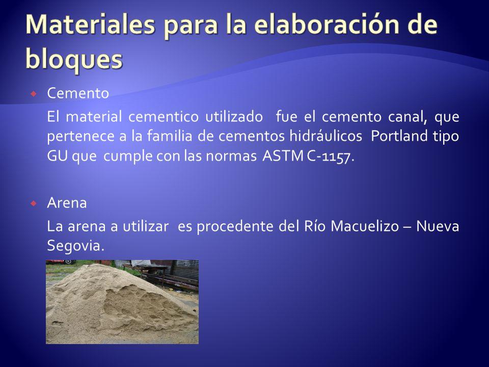 Cemento El material cementico utilizado fue el cemento canal, que pertenece a la familia de cementos hidráulicos Portland tipo GU que cumple con las n