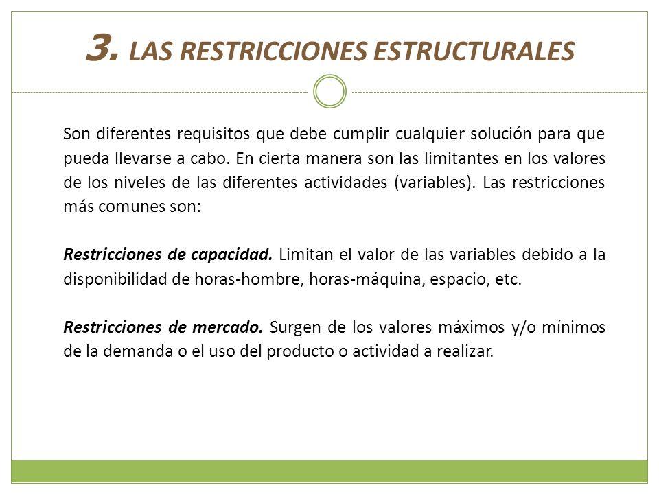 3. LAS RESTRICCIONES ESTRUCTURALES Son diferentes requisitos que debe cumplir cualquier solución para que pueda llevarse a cabo. En cierta manera son