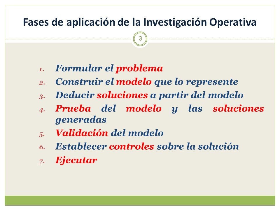 3 1. Formular el problema 2. Construir el modelo que lo represente 3. Deducir soluciones a partir del modelo 4. Prueba del modelo y las soluciones gen