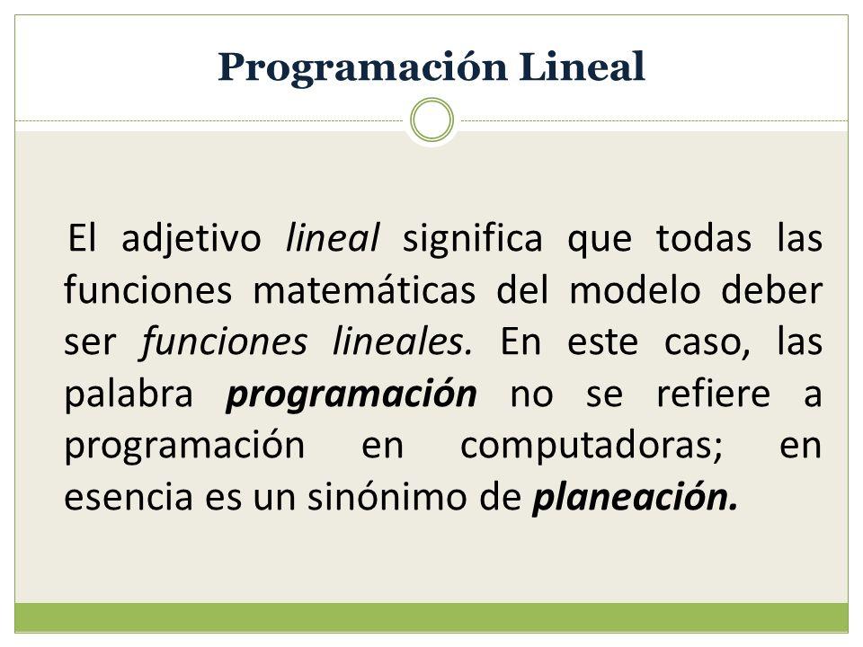 Programación Lineal El adjetivo lineal significa que todas las funciones matemáticas del modelo deber ser funciones lineales. En este caso, las palabr