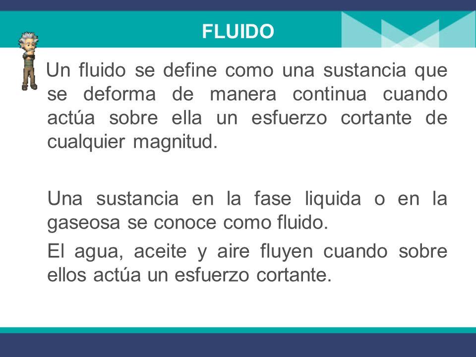 Ramas de la mecánica de fluidos La estática de fluidos, que trata los fluidos en el estado de equilibrio sin esfuerzo cortante, y La dinámica de fluid