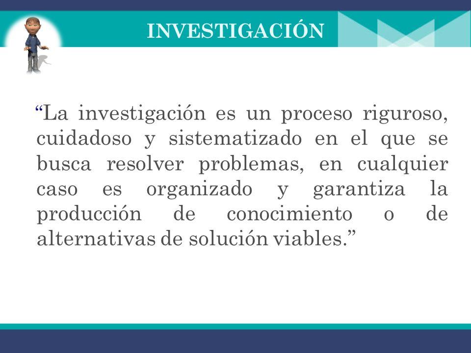 INVESTIGACIÓN Es un proceso que mediante la aplicación del método científico, procura obtener información relevante y fidedigna, para entender, verificar, corregir o aplicar el conocimiento.