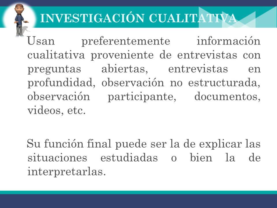 INVESTIGACIÓN CUALITATIVA La investigación cualitativa es aquella donde se estudia la calidad de las actividades, relaciones, asuntos, medios, materia
