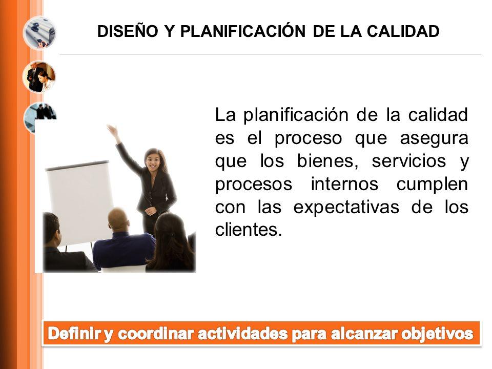 DISEÑO Y PLANIFICACIÓN DE LA CALIDAD La planificación de la calidad es el proceso que asegura que los bienes, servicios y procesos internos cumplen co