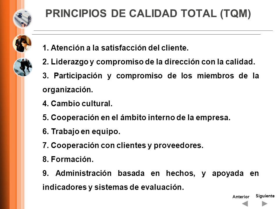 PRINCIPIOS DE CALIDAD TOTAL (TQM) Siguiente Anterior 1. Atención a la satisfacción del cliente. 2. Liderazgo y compromiso de la dirección con la calid
