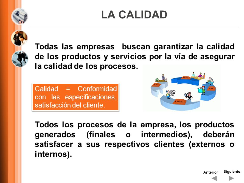 LA CALIDAD Siguiente Anterior Todas las empresas buscan garantizar la calidad de los productos y servicios por la vía de asegurar la calidad de los pr