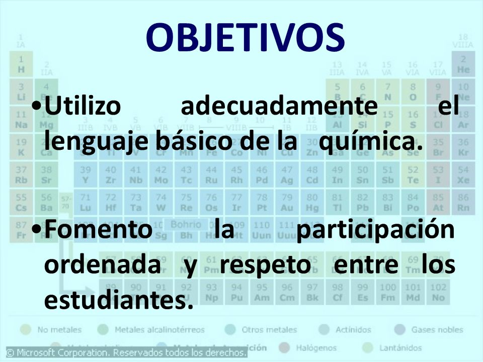 Interpreto correctamente la información de la tabla periódica. Utilizo los símbolos de los elementos mas comunes para escribir y nombrar las formulas