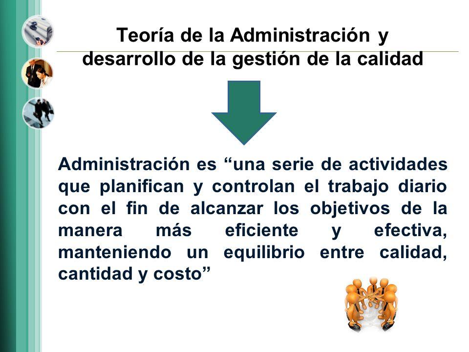 Teoría de la Administración y desarrollo de la gestión de la calidad Administración es una serie de actividades que planifican y controlan el trabajo