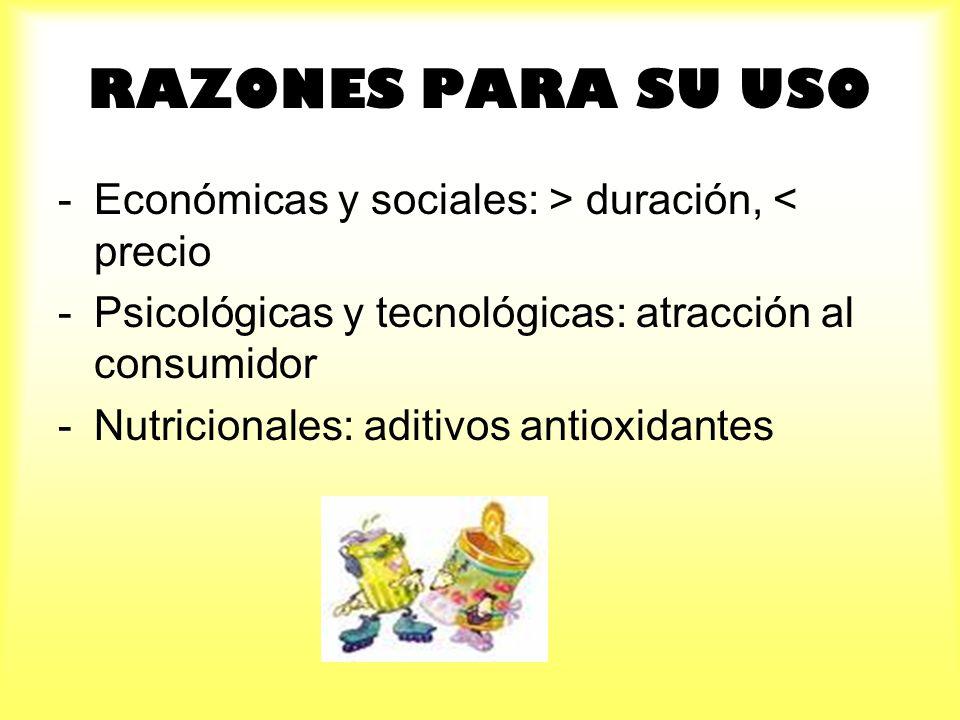 RAZONES PARA SU USO -Económicas y sociales: > duración, < precio -Psicológicas y tecnológicas: atracción al consumidor -Nutricionales: aditivos antiox